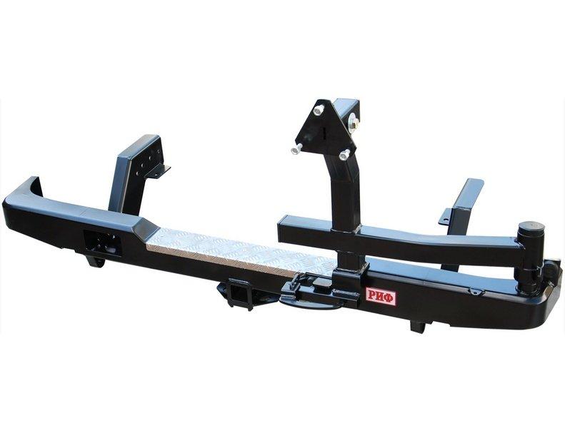 Купить Задний силовой бампер Риф RIFL20-20120 для Mitsubishi L200 1996-2006 с приемным фаркопом 50х50 мм., с калиткой для запасн